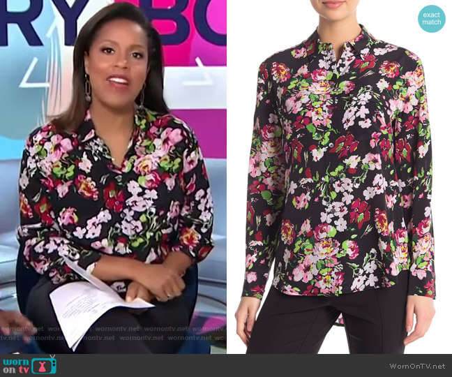 Signature Floral Long Sleeve Top by Equipment worn by Sheinelle Jones  on Today