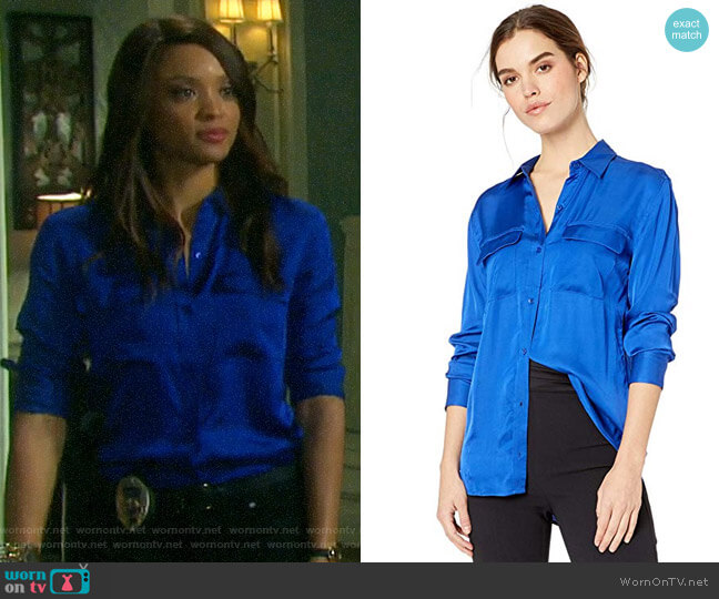 Equipment Slim Signature Silk Blouse in Hyper Blue worn by Lani Price (Sal Stowers) on Days of our Lives