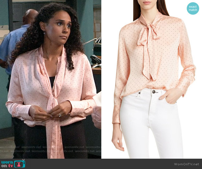 Equipment Luis Blouse in Rose Cloud True Black worn by Jordan Ashford (Briana Nicole Henry) on General Hospital