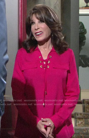 Esther's pink lace-up shirt on The Young and the Restless