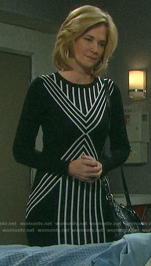 Eve's black and white striped long sleeve dress on Days of our Lives
