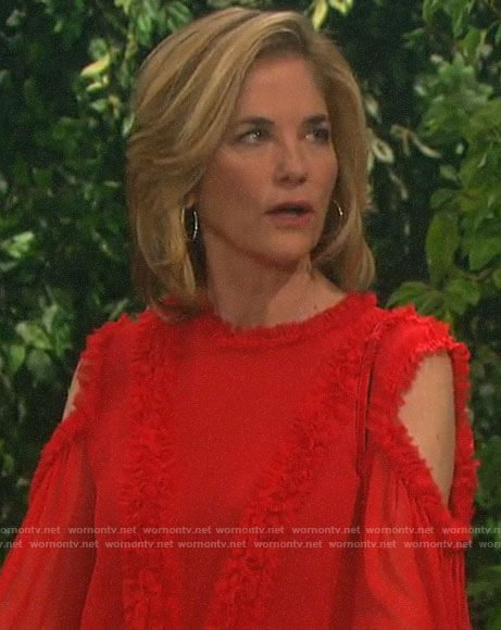Eve's red ruffled trim cold-shoulder blouse on Days of our Lives
