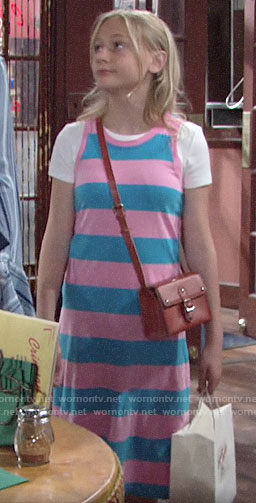 Faith's pink and blue striped dress on The Young and the Restless