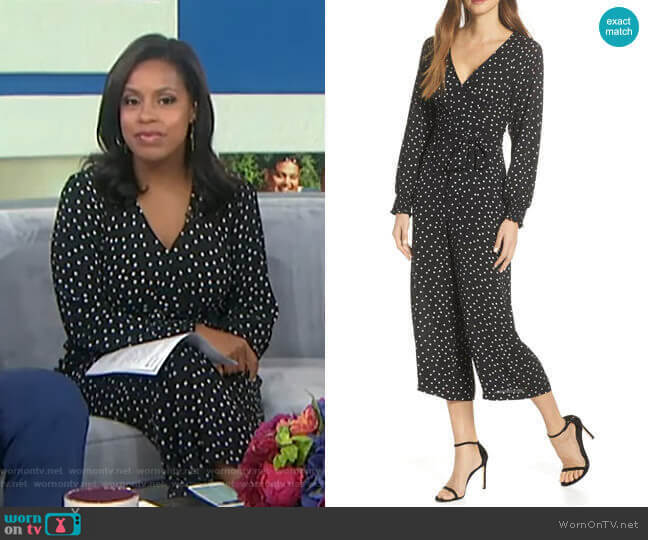 Faux Wrap Crop Jumpsuit by Eliza J worn by Sheinelle Jones  on Today