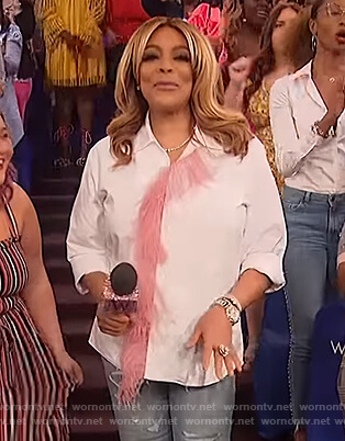 Wendy's white feather trim blouse on The Wendy Williams Show