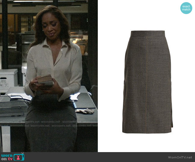 Fendi Checked Pleated-insert Wool-blend Skirt worn by Jessica Pearson (Gina Torres) on Pearson
