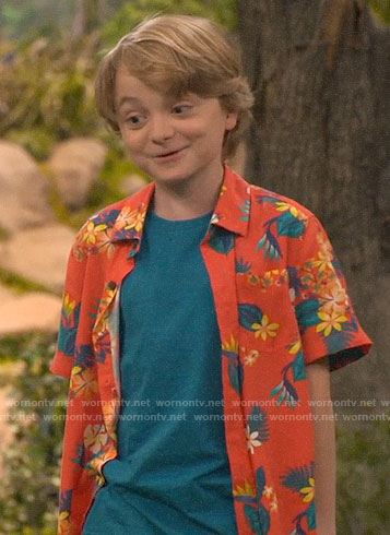 Finn's orange Hawaiian shirt on Bunkd