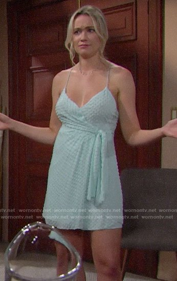 Flo's mint green wrap dress on The Bold and the Beautiful