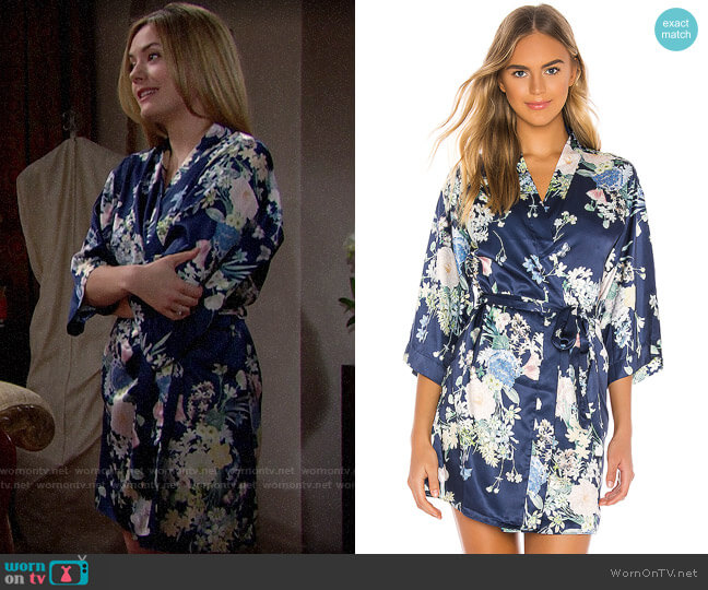 Flora Nikrooz Petra Kimono in Midnight Floral worn by Hope Logan (Annika Noelle) on The Bold & the Beautiful