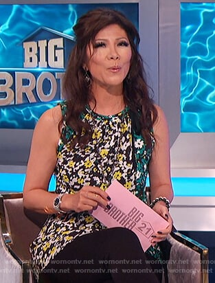 Julie's floral asymmetric blouse on Big Brother