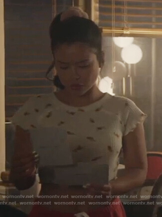 Mariana's white floral knit crop top on Good Trouble