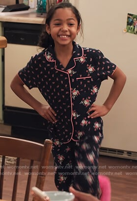 Ami's floral pajamas on Family Reunion