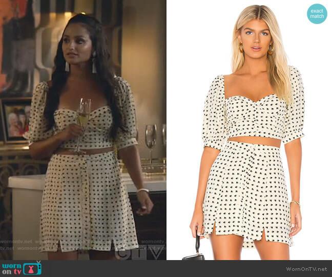 Sweetheart Top and Mini Skirt by For Love & Lemons worn by Carolina (Feliz Ramirez) on Grand Hotel