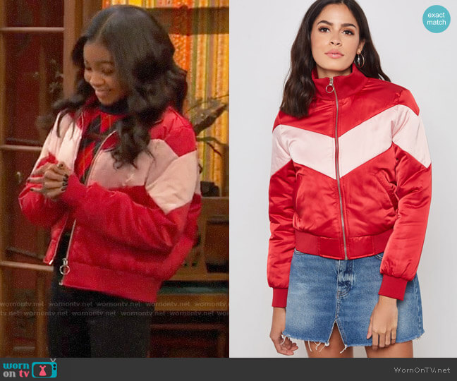 Forever 21 Chevron Padded Bomber Jacket worn by Nia Baxter (Navia Robinson) on Ravens Home