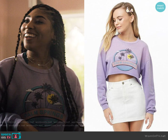 Palm Springs Graphic Sweatshirt by Forever 21  worn by Peri (Adriyan Rae) on Light as a Feather