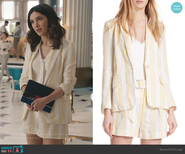 Linen Stripe Blazer and Shorts by Frame worn by Alicia Mendoza (Denyse Tontz) on Grand Hotel