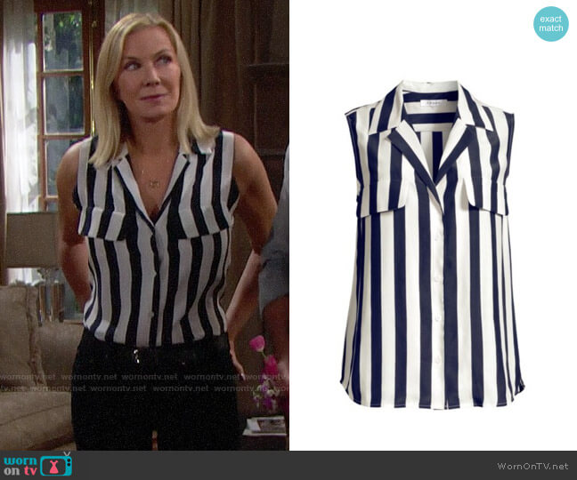 Frame True Sleeveless Stripe Silk Shirt worn by Brooke Logan (Katherine Kelly Lang) on The Bold & the Beautiful