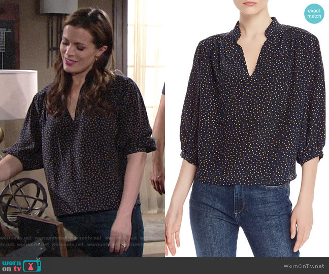 Frame Cali Dot-Print Silk Top worn by Chelsea Lawson (Melissa Claire Egan) on The Young & the Restless