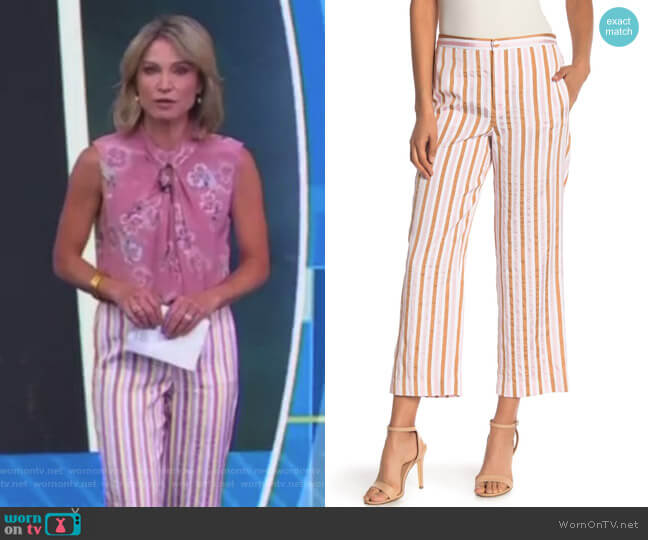 Relaxed Striped Pants by Frame Denim worn by Amy Robach  on Good Morning America