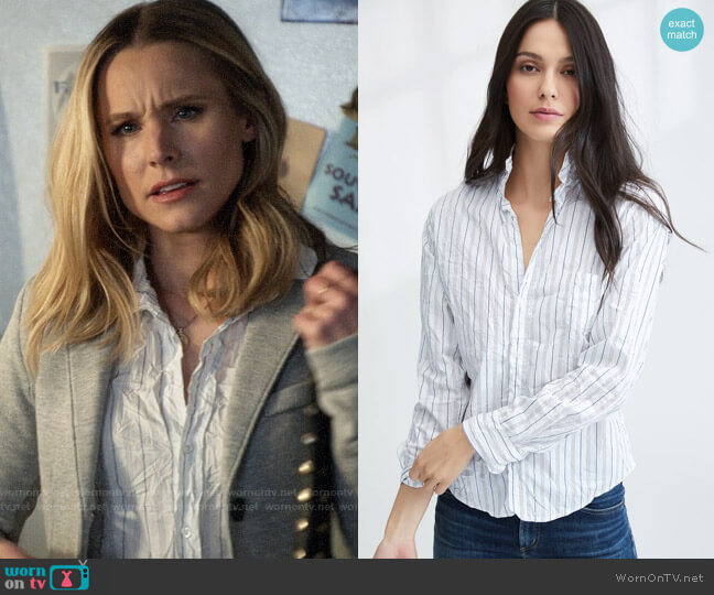 Frank & Eileen Barry Shirt in White & Blue Multi Stripe worn by Veronica Mars (Kristen Bell) on Veronica Mars