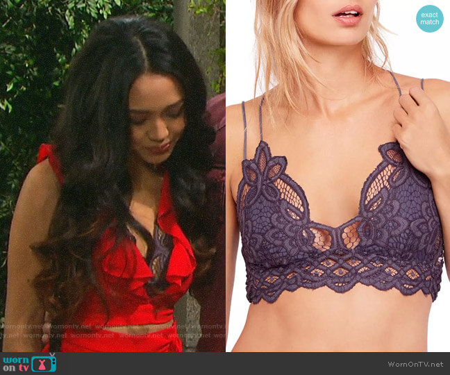 Free People Adelle Bralette worn by Haley Chen (Thia Megia) on Days of our Lives