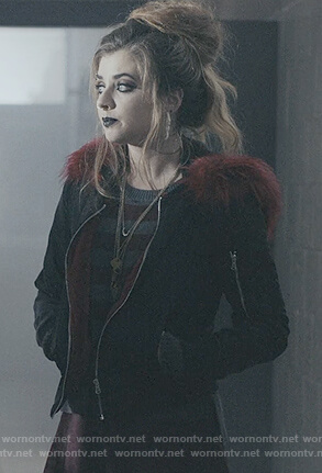 Beth's leather jacket with fur trim on Scream