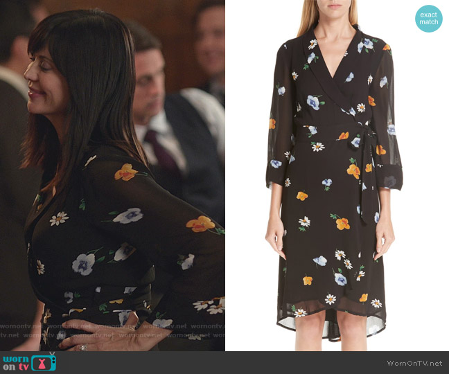 Dainty Floral Wrap Dress by Ganni worn by Cassandra Nightingale (Catherine Bell) on Good Witch