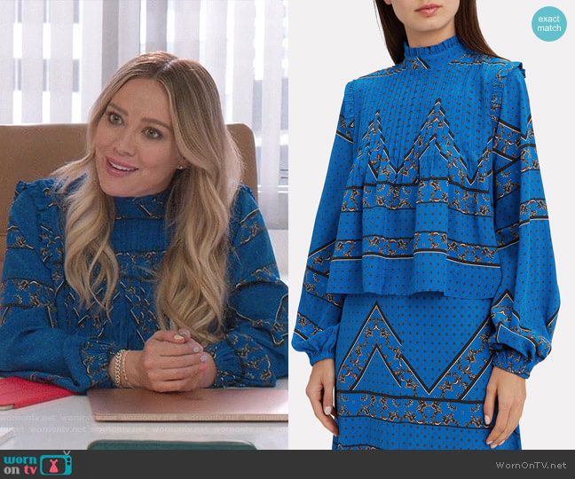 Cloverdale Pleat Detail Printed Blouse by Ganni worn by Kelsey Peters (Hilary Duff) on Younger
