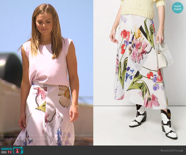 Floral Midi Skirt by Ganni worn by Hannah Brown  on The Bachelorette