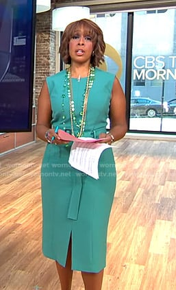 Gayle's green belted slit dress on CBS This Morning