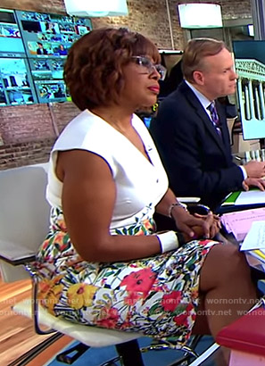 Gayle's white floral v-neck dress on CBS This Morning