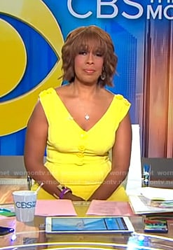 Gayle's yellow buttoned v-neck dress on CBS This Morning