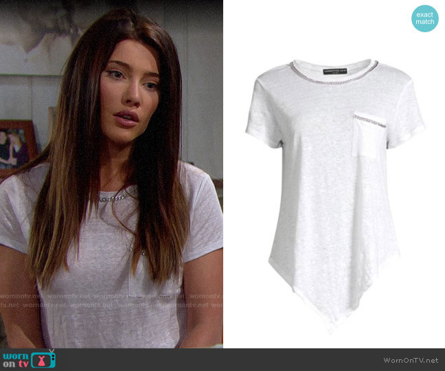 Generation Love Billie Chain Asymmetric Tee worn by Steffy Forrester (Jacqueline MacInnes Wood) on The Bold & the Beautiful