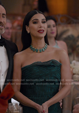 Gigi's green strapless gown on Grand Hotel
