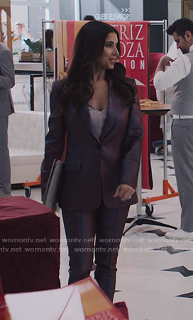 Gigi's purple metallic suit on Grand Hotel