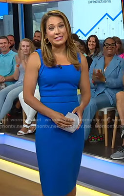 Ginger's blue sleeveless sheath dress on Good Morning America
