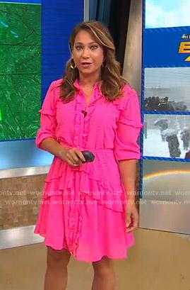 Ginger's pink ruffled dress on Good Morning America