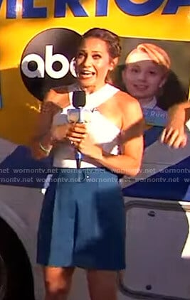 Ginger's white cross front top and blue shorts on Good Morning America