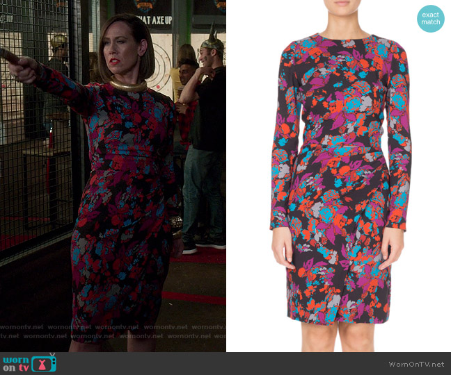 Long-Sleeve Ruched Waist Floral Print Dress by Givenchy worn by Diana Trout (Miriam Shor) on Younger