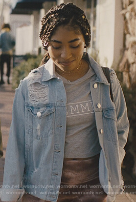 Peri's gray tee and distressed jacket on Light as a Feather