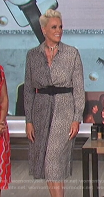 Brigitte Nielsen's gray leopard print shirtdress on The Talk