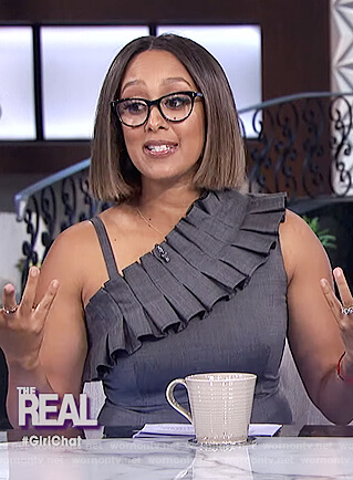 Tamera's gray ruffle sheath dress on The Real