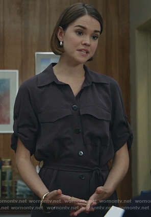 Callie's black midi shirtdress on Good Trouble