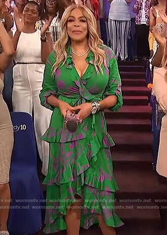 Wendy's green floral ruffled maxi dress on The Wendy Williams Show