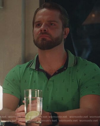 Evan's green letter print polo on Good Trouble