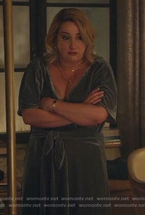 Davia's green velvet front tie dress on Good Trouble
