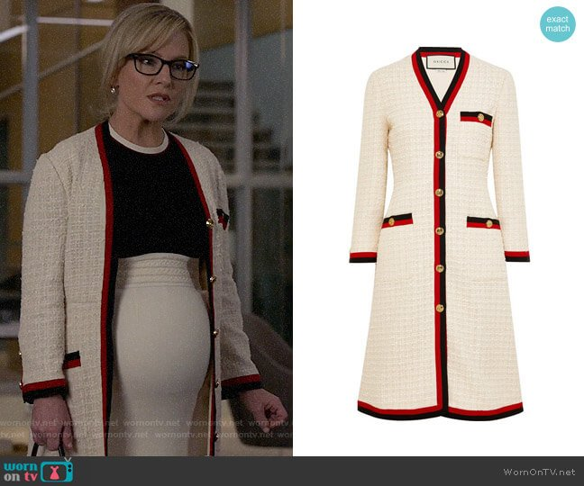 Gucci Grosgrain-trimmed cotton-blend boucle-tweed coat worn by Sheila Sazs (Rachael Harris) on Suits