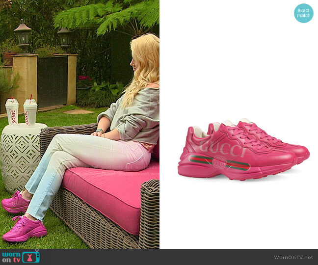 Gucci Rhyton Gucci logo leather sneaker worn by Heidi Montag  on The Hills New Beginnings