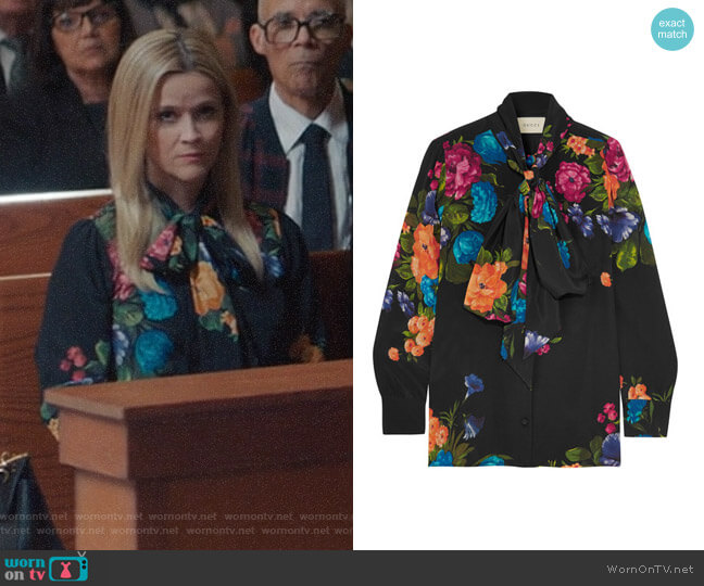Gucci Pussy-Bow Floral Print Silk Blouse worn by Madeline Martha Mackenzie (Reese Witherspoon) on Big Little Lies