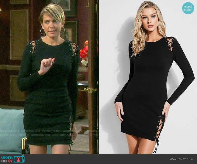 Guess Andy Lace-up Mini Dress worn by Nicole Walker (Arianne Zucker) on Days of our Lives